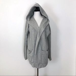 Gap M Open Hoodie Sweatshirt Grey Shawl Collar